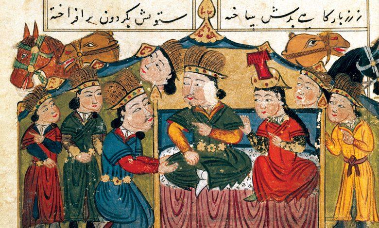 Cengiz Han esi Borte ile birlikte otururken. Cengiz Han tarihini anlatan 15. yuzyilda yapilmis bir Iran minyaturu.