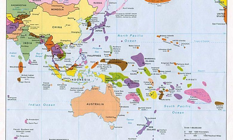 Dogu Asya ve Pasifik Ulkeleri Haritasi