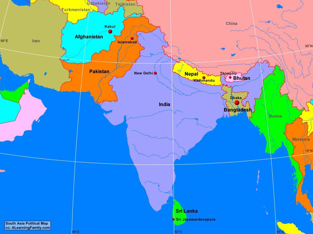 Guney Asya Siyasi Haritasi