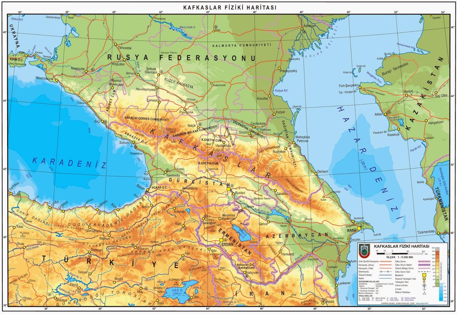 Kafkas ülkeleri ve başkentleri, Kafkasya bölgesi neresi oluyor, Kafkas cumhuriyetleri nelerdir harita...