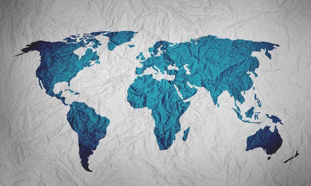 Mavi Dunya Haritasi Gri Kagit Arka Plan